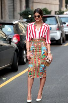 Milan Fashion Week. Prints in street style