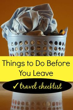Make the days leading up to your vacation less stressful! A list of things to do before you leave for vacation or out-of-town travel. Pin this post to save it for your next trip! via @caskifer