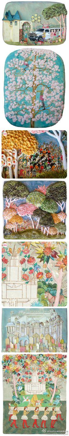 艺术家amanda smith,将油画绘制在瓷器当中,并且在作品中还会加上一些雕刻过的小粘土,以树叶和花朵造型居多,一起来看看这些令人惊叹的手工创意作品。