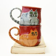 Kitty Cat Mug  Choose Your Color  Hand Thrown by BackBayPottery, $32.50