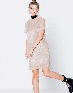 Pull&Bear - mujer - ropa - we party - vestido metalizado manga corta - oro - 09396315-I2016