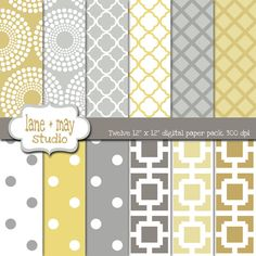 gray and yellow digital scrapbook papers by lane + may on Etsy, $5.00