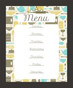 Super cute menus you can print and put in a frame! Love these printables!