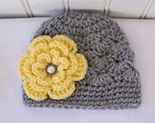 Cute & Kozy Crocheted Shell Hat - Light Gray (Grey) Rhinestone Yellow Flower - (Size 0-3 Months) - Available in sizes Newborn to 12 Years. $15.50, via Etsy.
