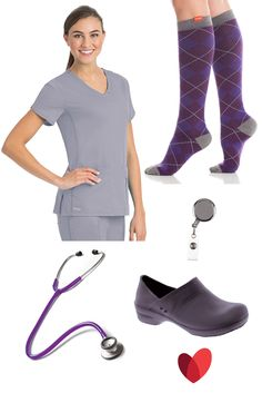 Scrubs outfit inspiration by allheart featuring: Scrubs ( granite)- Active by Grey's Anatomy™ Women's Side Panel V-Neck Solid Scrub Top/ Socks ( purple / charcoal/ argyle)- VIM & VIGR Women's 15-20 mmHg Compression Cotton Argyle Print Sock / Badge Reel (silver) - ID Avenue Basic Badge Reel / Shoe ( grey)- Aero by Sanita Women's Feather Light Clog / Stethoscope (purple) - Prestige Medical Clinical Lite Stethoscope