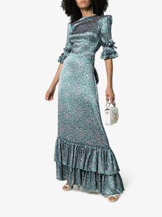 The Vampire's Wife Veneration Leaf Print Ruffle Dress - Farfetch Ruffle Dress, Silk Dress, Wrap Dress, The Vampires Wife, Long Sleeve Maxi, Classy Dress, Dress Outfits, Maxi Dresses, Leaf Prints