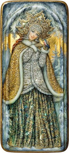 Russian lacquer miniature from the village of Fedoskino. Snegurochka (Snow Maiden) is a character of Russian traditional tales. ... (2016/03/17)