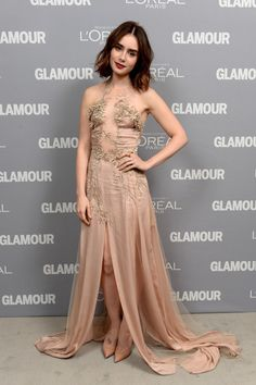 Lily Collins - Inside the Glamour Honors the Women of the Year | short wavy hair, red lips, pale silk gown w/ sheer paneling & embroidery