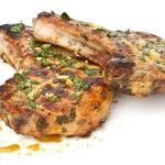 Lemon-Garlic Marinated Pork Chops The name says it all. Feast on chops that deliver a juicy jolt of flavor in every bite! Calories - 173 Carbohydrates -10g Fat - 8g Protein - 24g Sodium - 118mg Dietary Fiber - 1g