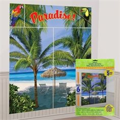 Palm Tree Scene Setter Kit from Windy City Novelties/ $5.50 and parrots in the trees!