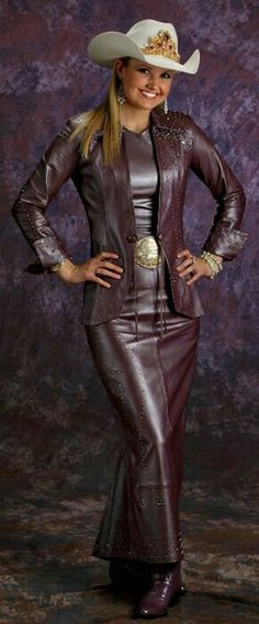 Long brown leather skirt jacket cowgirl