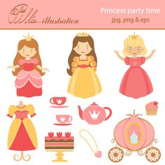 This  adorable Princess party time clipart set comes with 11 clipart graphics featuring beautiful 3 beautiful princesses, carriage, tea pot,   2 cups, cake, dress, cupcake and necklace.
