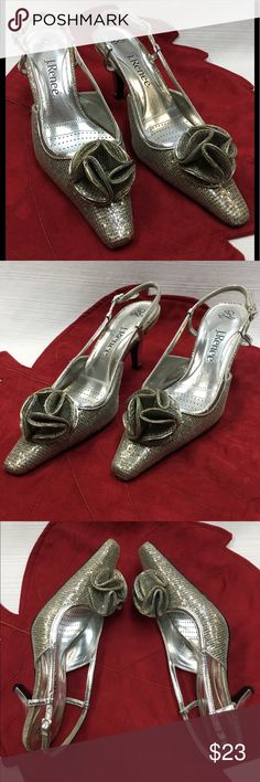 edd927cf7e16 Beautiful Silver Heels by J. Renee. Padded Footbed. Heel height is 2.75  inches. Size 6 M. Hardly Worn. Appears to be in Very Good Condition.