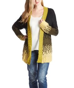 Another great find on #zulily! Black & Green Pixel Open Cardigan #zulilyfinds