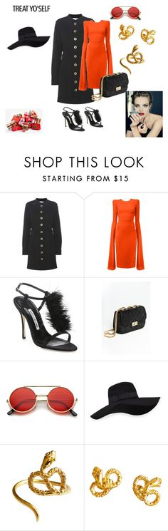 """Treat yo'self."" by stavrosdragatakis ❤ liked on Polyvore featuring Chloé, Alex Perry, Manolo Blahnik, ZeroUV, San Diego Hat Co. and dragtakisjewellery"
