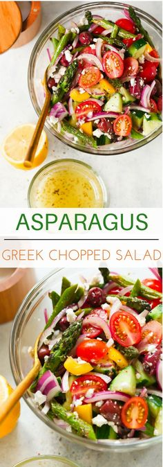 Asparagus Greek Chopped Salad - This Asparagus Greek Chopped Salad is made with roasted asparagus, cucumber, tomatoes, black olives, feta cheese and flavored with an easy lemon dressing.