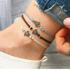 Anklets retro turtle pendant anklet bracelet leather women foot beach accessories gift alloy silicone china Jewelry & Watch buy at best price on besprod Beach Bracelets, Beach Jewelry, Cute Jewelry, Silver Bracelets, Jewelry Gifts, Diy Jewelry, Jewelery, Women Jewelry, Fashion Jewelry