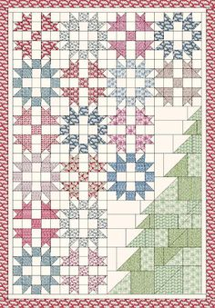 The Intrepid Thread: Cottage Christmas Quilt Along - Part 1 Quilting Tutorials, Quilting Designs, Quilting Ideas, Christmas Quilt Patterns, Christmas Quilting Projects, Christmas Patchwork, History Of Quilting, Cottage Christmas, Star Quilt Blocks