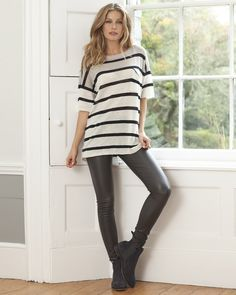 Stretch leather leggings in navy or taupe, Celtic Co £435