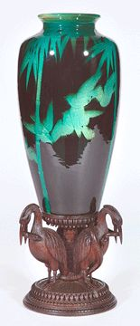 ~Rookwood~Artist: Kataro Shirayamadani~Circa in Flight Vase Supported By Wooden Crane Base~ Weller Pottery, Roseville Pottery, Ceramic Pottery, Pottery Art, Rockwood Pottery, Black Iris, Japanese Ceramics, Pottery Designs, Arts And Crafts Movement