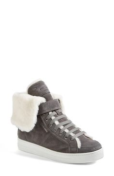 Prada Faux Shearling Sneaker (Women) available at #Nordstrom