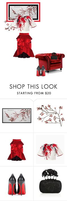 """Red blossoms"" by theitalianglam ❤ liked on Polyvore featuring Home Decorators Collection, Balmain, Christian Louboutin and Alexander McQueen"