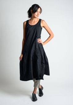 Rundholz Black Label Stretch Linen Sleeveless Dress in Schwarz