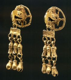 Aztec Jewelry, Ancient ear  pendants.
