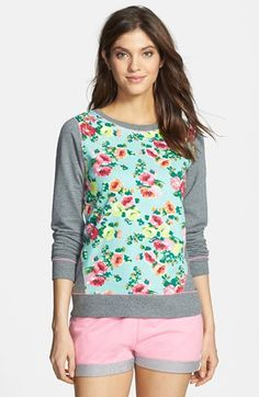 kensie 'Rosy Outlook' Colorblock French Terry Sweatshirt available at #Nordstrom