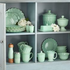 Thrift Store Outfits, Thrift Store Crafts, Thrift Store Decorating, Pioneer Woman Dishes, Pioneer Woman Kitchen, Pioneer Women, Pioneer Woman Dinnerware, Green Milk Glass, Spice Shaker