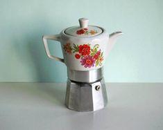 Vintage porcelain moka pot, coffee maker for stove top, orange mauve flowers decor