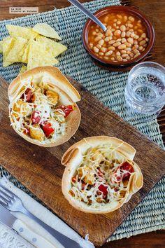 Cazuelitas de alambre de pollo. Receta con fotografías de cómo hacerla y recomendaciones de cómo servirla. Recetas con pollo. Recetas mexicanas