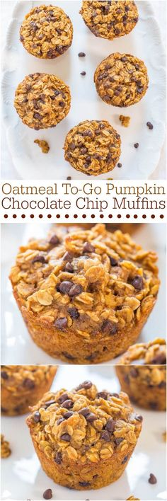 so great for a breakfast or snack for kid! Oatmeal To-Go Pumpkin Chocolate Chip Muffins - Like having a bowl of warm pumpkin oatmeal in portable muffin form! Fast and easy! Think Food, Love Food, Pumpkin Recipes, Fall Recipes, Oatmeal Recipes, Breakfast Recipes, Dessert Recipes, Breakfast Cookies, Muffin Recipes