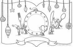elf place setting 11x17 colouring page