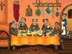In this retablo titled San Pascual's Table, native New Mexian artist Victoria de Almeida pays homage to the patron saint of cooks and kitchens, sheep and shepherds, depicting him peeking around the corner to observe his brothers dining on New Mexican food New Mexican, Mexican Folk Art, Mexican Paintings, Southwest Art, Catholic Art, Religious Art, Poster Prints, Art Prints, Stretched Canvas Prints