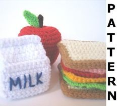 Play Food Crochet Pattern - Lunch Play Set - finished items made from pattern may be sold. $5.00, via Etsy.