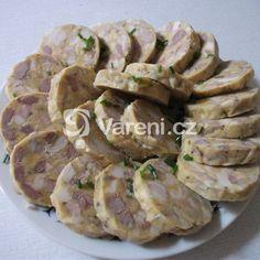 Bůčková tlačenka recept - Vareni.cz Bucky, Garlic, Pork, Food And Drink, Chicken, Vegetables, Meat Products, Cooking, Recipes