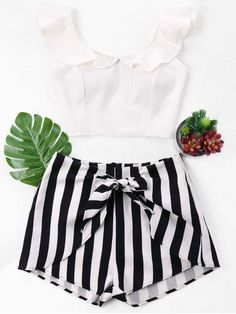 Ruffle Striped Shorts Two Piece Set Crop Top And High Waisted Shorts, Tankini With Shorts, Pretty Outfits, Cute Outfits, Casual Outfits, Fashion Outfits, Fashion Clothes, Crop Top Outfits, Summer Outfits