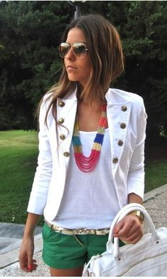 necklace // white jacket //