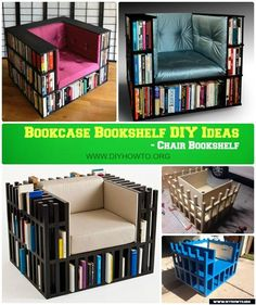 DIY LUX Chair Bookshelf /Bookcase Chair Instruction-Free Plan #Furniture