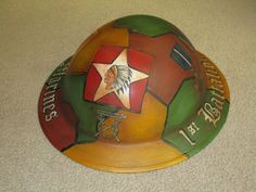 WWI USMC AEF 1st BATTALION 5th MARINES PAINTED HELMET