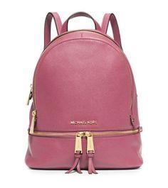 Rhea Small Leather Backpack   Michael Kors