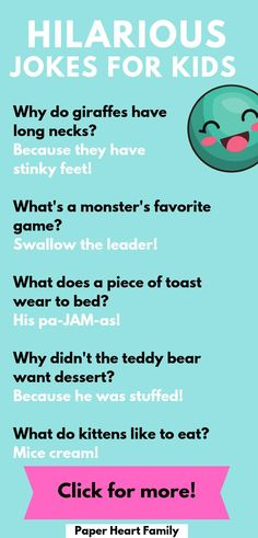 Make your kids laugh with these hilarious jokes for kids. They're silly, they're corny and then work well even for young kids. My 5 year old loves this jokes and riddles. - Jokes For 5 Year Olds: Super Funny Jokes To Make Your Kid Crack Up Funny Riddles, Funny Kid Memes, Latest Funny Jokes, Funny Jokes For Kids, Funny Jokes In Hindi, Funny Jokes To Tell, Silly Jokes, Dad Jokes, Hilarious Jokes