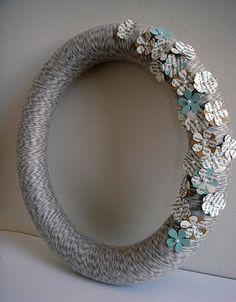 Yarn wreath with newspaper flowers - $25