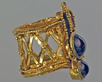 Sarmatian Gold (Ring with gold fly and two spinels  1st century CE.  Sokolova Mohyla tumulus near the village of Kovalivka, Mykolaiv Region.  Excavations 1974.)