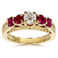 Diamond and Ruby Five Stone V-Prong Engagement Ring 1 4/5 CTW 14k Yellow Gold #kobelli #ruby #diamond #diamondring #fivestonering #floralring