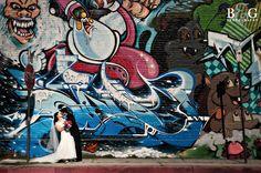 graffiti bride & groom