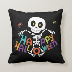 Shop Cute Happy Halloween Skeleton Throw Pillow created by EvcoHolidays. Halloween Bat Decorations, Halloween Pillows, Easter Bunny Decorations, Halloween Skeletons, Halloween Themes, Disney Halloween, Cute Halloween, Cute Skeleton, Diy Home