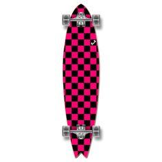 Fishtail Longboard Complete - Checker Pink