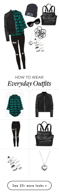 """everyday average grunge outfit"" by anushared on Polyvore featuring Topshop, Madewell, Rick Owens, Givenchy, Monki, Karen Walker and Pandora"